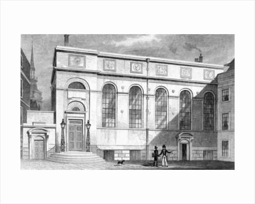 Stationers' Hall, Stationers' Hall Court, engraved by W. Watkins by Thomas Hosmer Shepherd