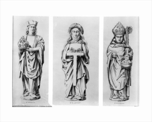 Drawings of Saints Martin, Wilgefort and Nicholas from their statues in Henry VII Chapel, Westminster Abbey, by English School