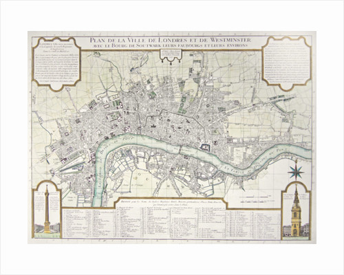 Plan of the Towns of London and Westminster, 1727 by Guillaume Danet
