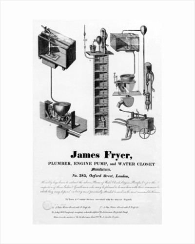 Advertisement for 'James Fryer, Plumber, Engine Pump and Water Closet Manufacturer', by English School
