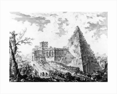 View of the Pyramid of Caius Cestius by Giovanni Battista Piranesi