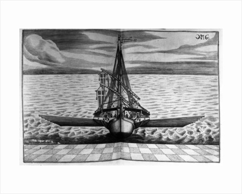 Front View of a Warship with Two Masts by Jacob Custodis