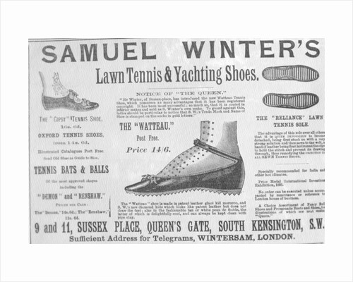 Advertisement for Samuel Winter's Lawn Tennis & Yachting Shoes by English School