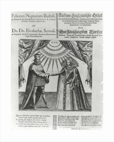 Commoration of the marriage of Elizabeth Stuart, the daughter of James I, to the Frederick V, the King of Bohemia by English School