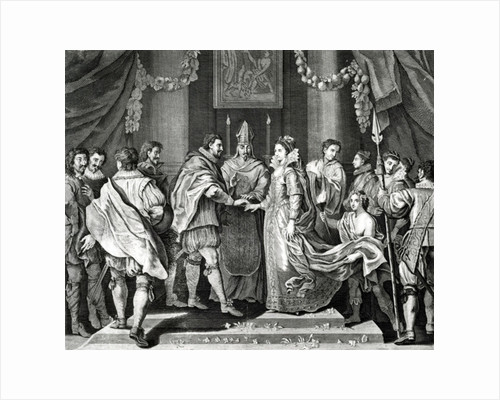The Marriage of the King, after a painting by L. Cheron by English School