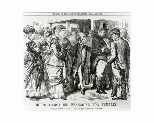 Mill's Logic: or, Franchise for Females, cartoon from Punch, London by John Tenniel