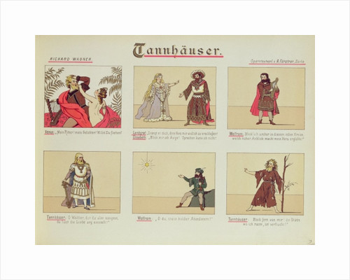 Six scenes relating to the opera 'Tannhauser' by Richard Wagner by German School