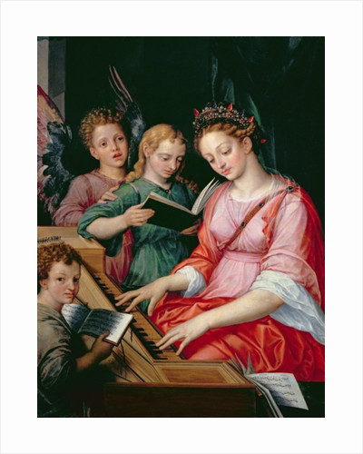 St. Cecilia Accompanied by Three Angels by Michiel I Coxie or Coxcie