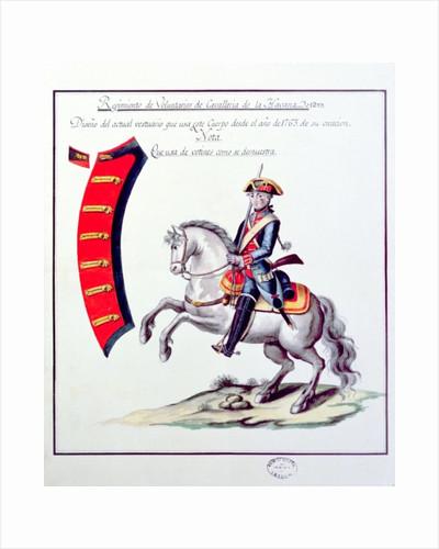 Uniform of the Volunteers of the Havana Cavalry Regiment by Spanish School