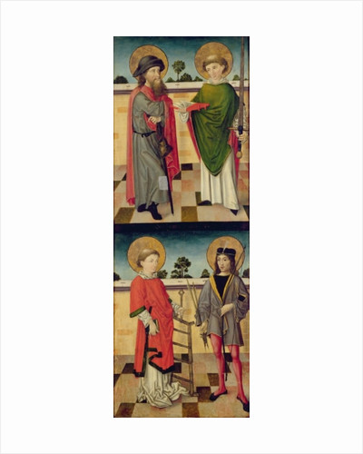 St. Jacob as a Pilgrim and St. Matthew Holding a Book and a Sword; St. Lawrence Holding a Grid Iron and St. Sebastian Holding a Bow and Arrow by Master of the Luneburg Footwashers
