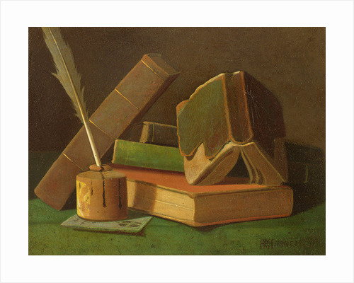 Still life with books and ink well by William Michael Harnett