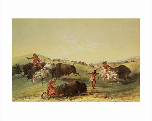 Buffalo Hunt, plate 7 from Catlin's North American Indian Collection, engraved by McGahey, Day and Haghe by George Catlin