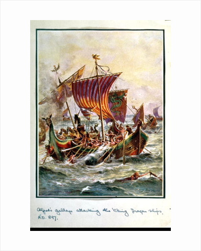 Alfred's galleys attacking the Viking Dragon ships by Henry A. Payne
