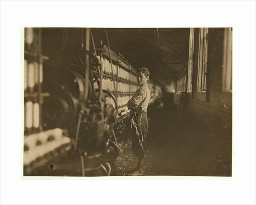 John Dempsey, 11 or 12 years old, Saturday worker in the mule-spinning room by Lewis Wickes Hine