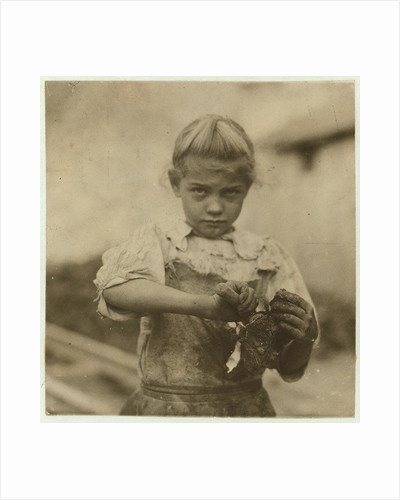 Rosie, aged 7, illiterate, working for a second year as an oyster shucker at Varn & Platt Canning Company, Bluffton, South Carolina by Lewis Wickes Hine