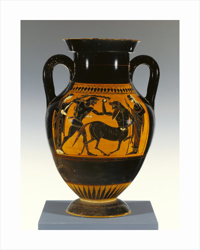 Athenian Attic black-figure panel-amphora type B with Heracles attacking the centaur by Greek