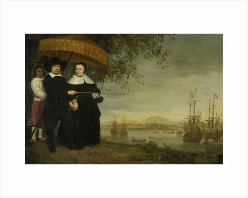 A senior merchant of the Dutch East India Company Jacob Mathieusen and his wife at Batavia where Dutch East India Company ships prepare to sail home by Aelbert Cuyp