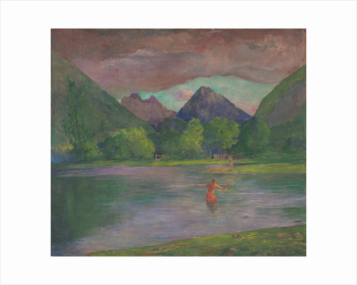 Afterglow, Tautira River, Tahiti, Fisherman Spearing a Fish by John La Farge or Lafarge
