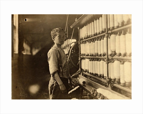 John Dempsey, 11 or 12 years old, Saturday worker in the mule-spinning room at Jackson Mill, Fiskeville, Rhode Island by Lewis Wickes Hine