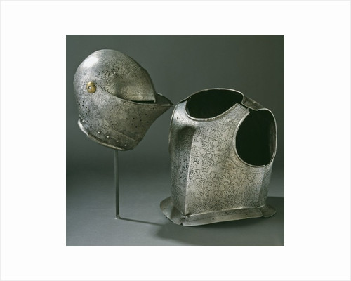 Helmet and armour by Anonymous
