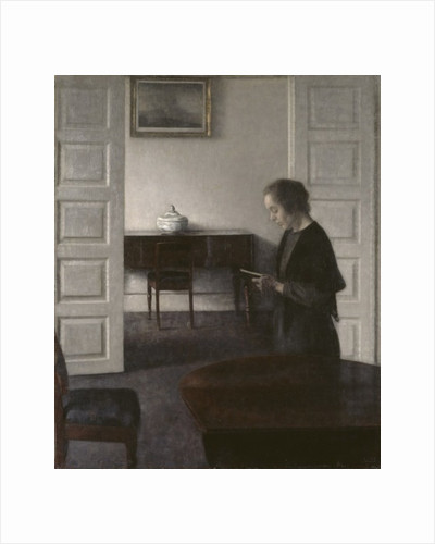 Interior with a Lady Reading by Vilhelm Hammershoi