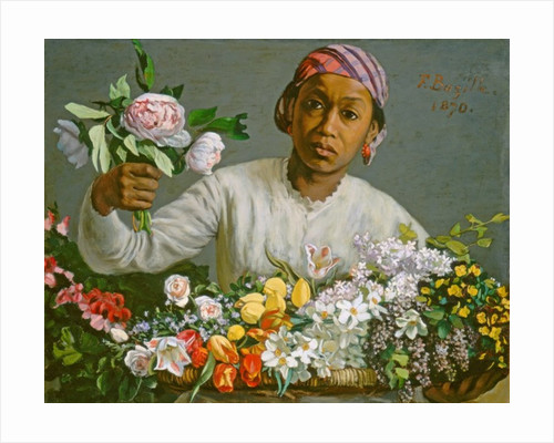 Young Woman with Peonies by Jean Frederic Bazille