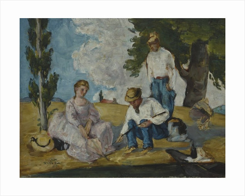 Picnic on a Riverbank by Paul Cezanne