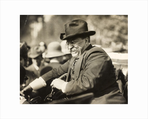Theodore Roosevelt smiling from an automobile by Anonymous