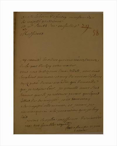 A petition to be released from jail, 31st June 1753 by Francois Marie Arouet Voltaire