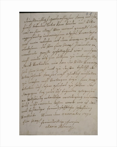 A letter from Maria Theresa to King Frederick II asking for his support for the imperial election of her husband Francis I by Maria Theresa of Austria