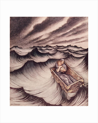 Danae and her son Perseus put in a chest and cast into the sea by Arthur Rackham