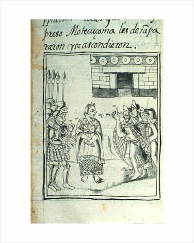 Book IX Marina interpreting for the Spaniards at a meeting between Hernando Cortes and Montezuma by Spanish School