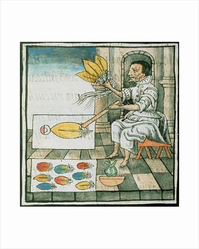 Book IX An Aztec feather artisan by Spanish School
