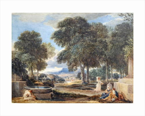 Landscape with a Man Washing his Feet at a Fountain by David Cox