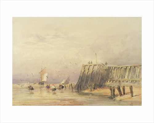 Seascape with Sailing Barges and Figures Wading Off-Shore by David Cox
