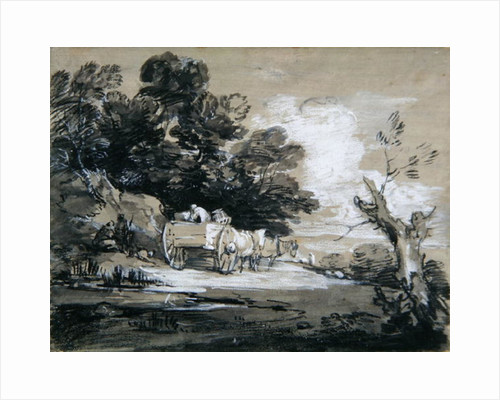Wooded Landscape with Country Cart and Figures, c.1785-88 by Thomas Gainsborough