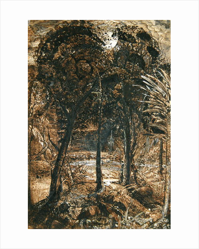 A moonlit scene with a winding river by Samuel Palmer