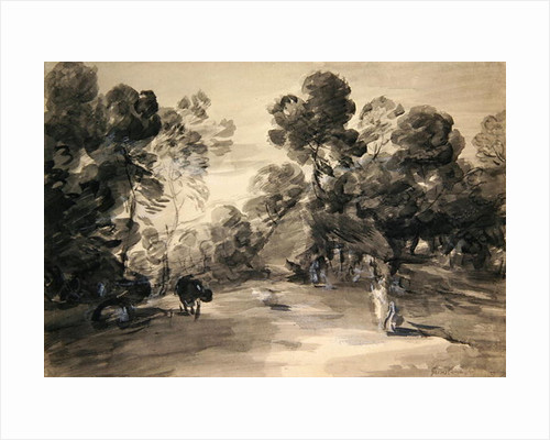 Wooded landscape with figures, cottage and cow, c.1785 by Thomas Gainsborough