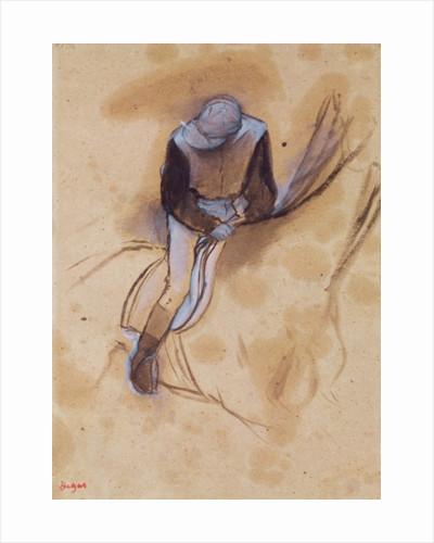 Jockey flexed forward standing in the saddle by Edgar Degas