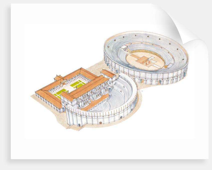 Roman theatre and amphitheatre. Reconstruction. Merida, Spain by Fernando Aznar Cenamor