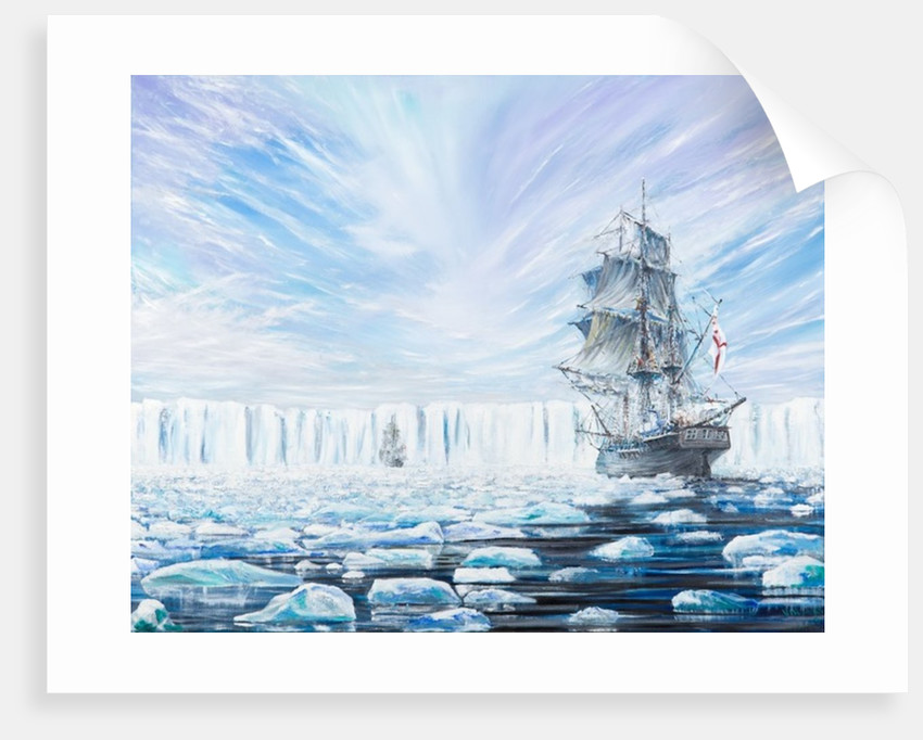James Clark Ross discovers Antarctic Ice Shelf Jan 1841 by Vincent Alexander Booth