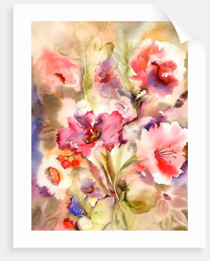 Flowers in a Purple Vase by Neela Pushparaj