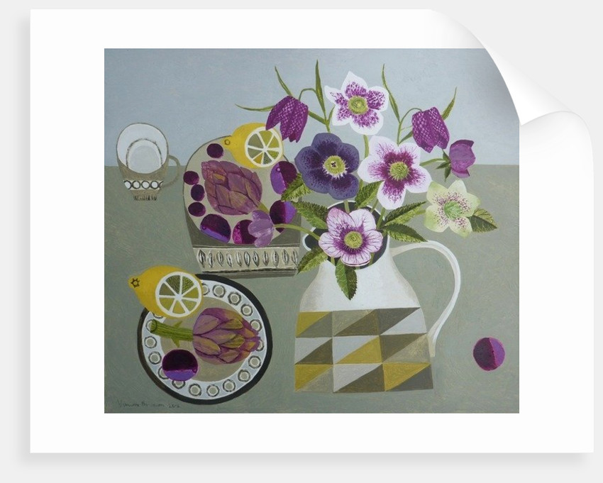 Hellebores and Artichokes by Vanessa Bowman