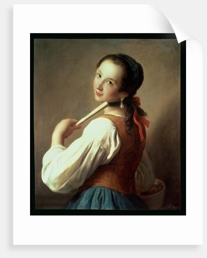 Young Girl wearing a pearl earring by Pietro Antonio Rotari