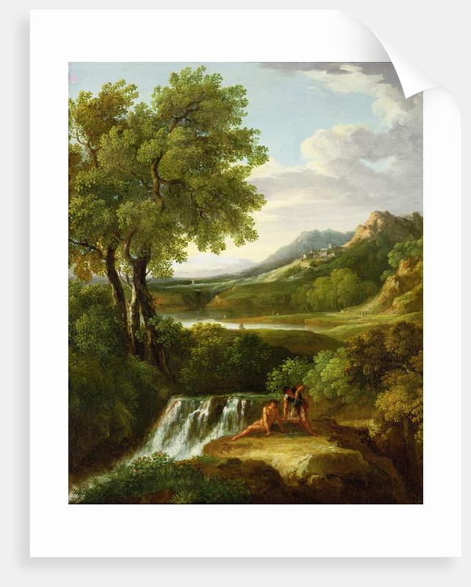 Figures in a classical landscape by Jan Frans van Bloemen