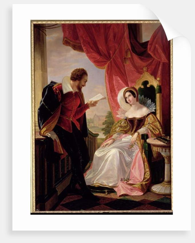 Torquato Tasso reading a poem to Leonora d'Este by Luigi Mussini