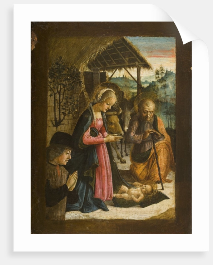 Adoration of the Child with portrait of donor, c.1500 by School Italian