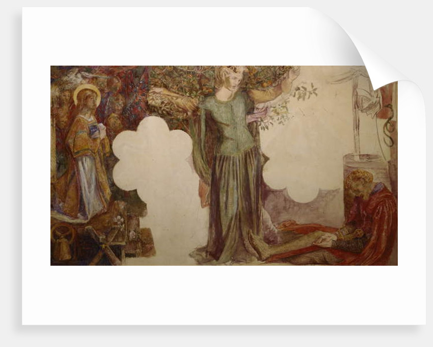 Sir Lancelot prevented, by his sin, from entering the Chapel of the Holy Grail by Dante Gabriel Charles Rossetti