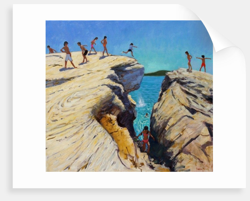 Jumping off the rocks, Plates, Skiathos by Andrew Macara