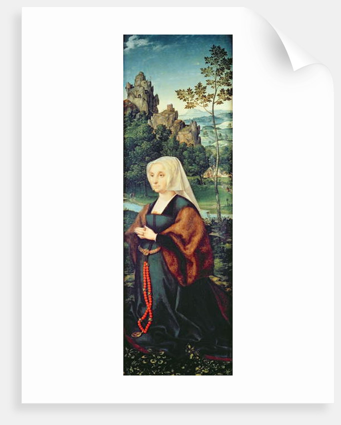 Wife of a donor kneeling by a river by Joos van Cleve